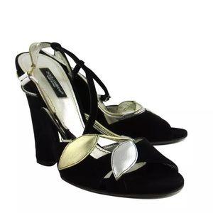 Dolce Gabbana black floral suede wedge size 38